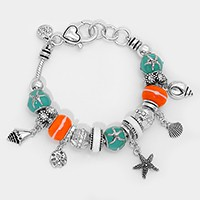 Multi-Bead Starfish & Shell Charm Bracelet