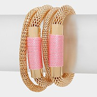 Coiled Thread Metal Mesh Stack Stretch Bracelet
