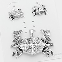 Textured Metal Origami Crab Pendant Set