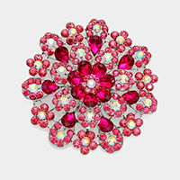Oversized Flower Crystal Pave Pin Brooch