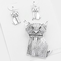 Textured Metal Origami Cat Pendant Set