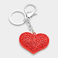 Crystal Pave Heart Keychain