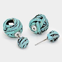 Double Sided Wrapped Metal Wire Ball Stud Earrings