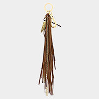 Metal Feather Faux Suede Tassel Keychain / Bag Charm