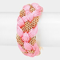 Braided Thread & Metal Mesh Bracelet