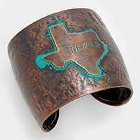 Texas State map Hammered Wide Metal Cuff Bracelet