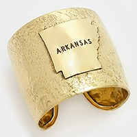 Arkansas State map Hammered Wide Metal Cuff Bracelet