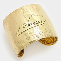 Kentucky State map Hammered Wide Metal Cuff Bracelet