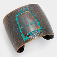 Alabama State map Hammered Wide Metal Cuff Bracelet