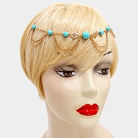 Turquoise Station Draped Metal Chain Headband