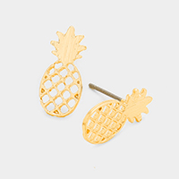 Pineapple Cut out Metal Stud Earrings