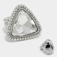 Crystal Rhinestone Triangle Stretch Cocktail Ring