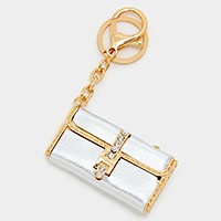 Crystal Detail Faux Leather Clutch Bag Keychain