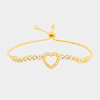 Cubic Zirconia Heart Cinch Evening Bracelet