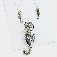 Abalone Sea Horse Pendant Set