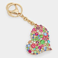 Crystal Pave Heart Key Chain