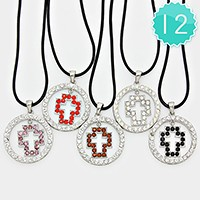 12 PCS - Crystal cross pendant necklaces