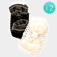 12 PCS - Metallic thread detail headbands