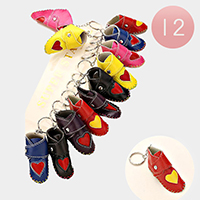 12 PCS - Heart shoe keychains