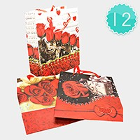 12 PCS - Valentine's day rose & heart gift bags