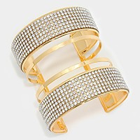Crystal cage cuff bracelet