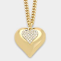 Crystal pave chunky heart pendant necklace