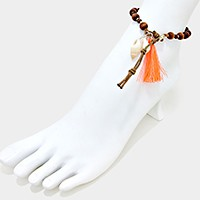 Thread tassel & shell charm drop wooden bead anklet