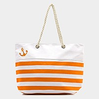 Striped anchor canvas beach bag