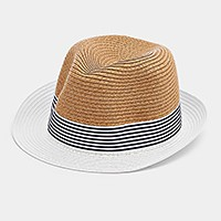Striped Color Block Straw Fedora Hat