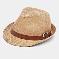 Faux leather belt straw fedora hat