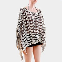 Double layer fringed metallic net  poncho