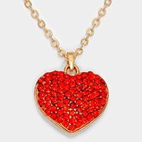 Crystal pave heart pendant necklace