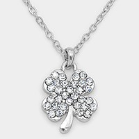 Crystal pave clover pendant necklace