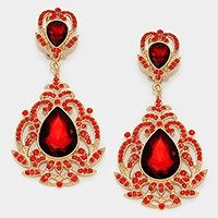Victorian gothic double crystal teardrop clip on earrings