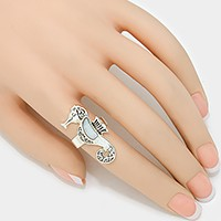 Mother of pearl seahorse ring