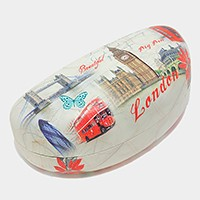 Vintage London Big ben drawing eyewear Case