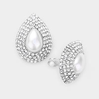Crystal Pearl Teardrop Clip On Earrings