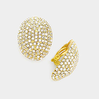 Oval Rhinestone Evening Clip on Earrings