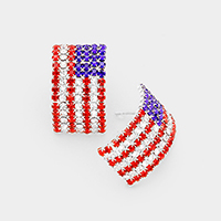 Crystal Pave American Flag Earrings