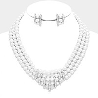 Multi-strand crystal pearl necklace