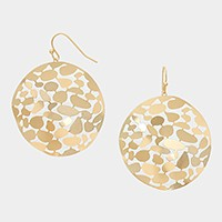 Hammered Metal Cut out Disc Earrings