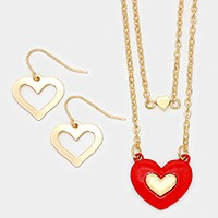 Double layer heart pendant necklace
