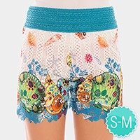 Double layer starfish & shell sea life print shorts