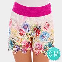 Double layer floral print shorts