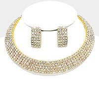 5-Row Crystal Rhinestone Choker Necklace