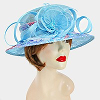 Dressy lace feather flower curl bow sinamay hat