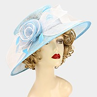 Dressy feather ombre flower sinamay hat