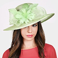 Dressy feather flower sinamay hat