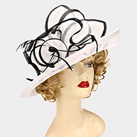 Dressy feather curl bow sinamay hat