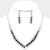 Crystal rhinestone bubble V-collar necklace